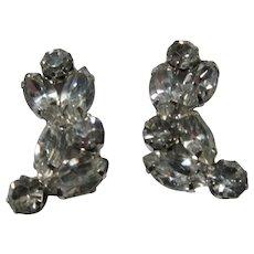 Weiss Signed Rhinestone Clip Earrings