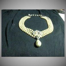 Eugene Faux Pearls & Rhinestone Drippy Pendant Costume Jewelry Necklace