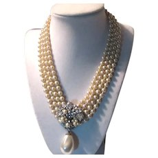 Eugene Signed Faux Pearls Rhinestone Draped Necklace