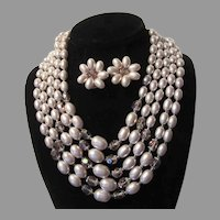 Violet Faux Pearls Beads Necklace Clip Earring Set Demi Parure