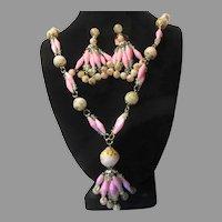 Hong Kong Plastic Beads Necklace Clip Earrings Set