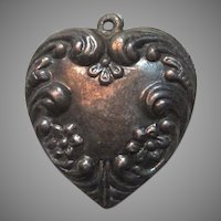 Sterling Silver Puffy Heart Charm Pendant