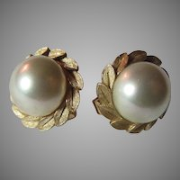 Majorica Faux Imitation Large Pearls Clip Earrings