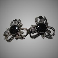 Sterling Silver Marcasite Black Onyx Clip Earrings