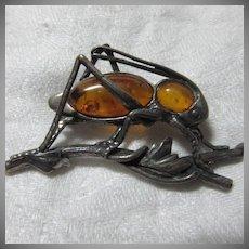Sterling Silver & Amber Grasshopper Pin