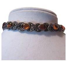 Sterling Silver Bracelet Amber Marcasites