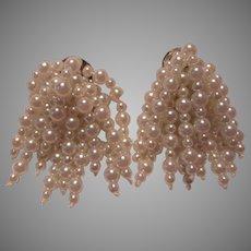 Fabulous Faux Pearls Cluster Draping Clip Earrings