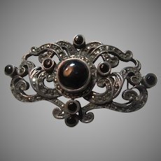 Sterling Silver Black Onyx Marcasites Brooch Pin