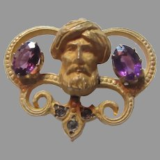 Antique Pin Swami Guru Middle Eastern Face