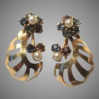 Fine Gold Filled Screw Back Earrings Blue Stones and Pearl