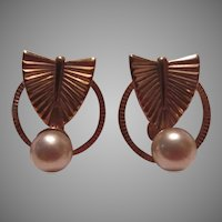 Gold Filled Screw Back Earrings With Pearl