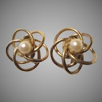 Marvella Signed Gold Filled Pearl Screw Back Earrings