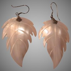 Large Carved Mother of Pearl Leaf Earrings Pierced Wired