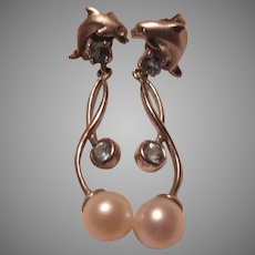 Sterling Pierced Earrings Dolphins With Cultured Pearl and Blue Stones