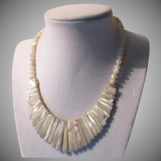 Old Mother Of Pearl MOP Beads Necklace With Graduated Long Beads