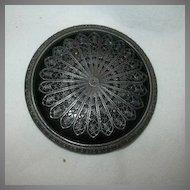 Large Impressive Old Black Button Filigree Overlay