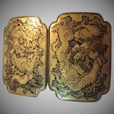Chinese Gold Tone & Black Enamel Ornate  Buckle Dragons