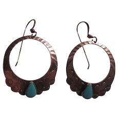 Native American Sterling Silver Turquoise Pierced Earrings