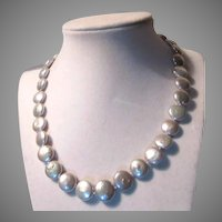 Honora Silvery White Button Faux Pearls Necklace
