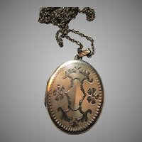 Large Gold Filled Locket With Chain