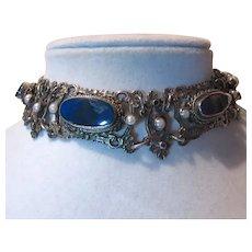 Hungarian Sterling Silver Blue Stones Bracelet