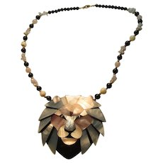 Lion Face Large Pendant With MOP And Black Beads Necklace