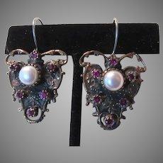 Ornate Wire Pierced Earrings Faux Pearl Faux Ruby Stones