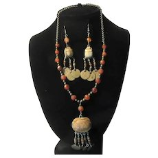 Necklace Pierced Earring Set Scarab Coin & Beads