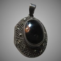 Sterling silver Black Onyx Marcasites Locket Pendant