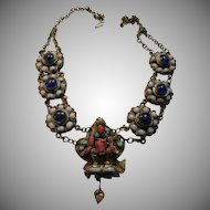 Buddhist or Hindu Old Necklace With Deity Statue