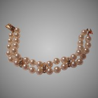 Double Strand Costume Pearls Bracelet With Rhinestone Spacers
