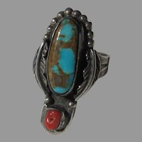 Native American Ring Silver Turquoise Coral Size 8.5