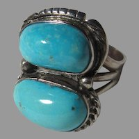 Native American Ring Fine Turquoise Sterling Silver Sz 10