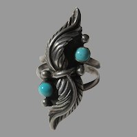 Native American Ring Fine Turquoise Sterling Silver Sz 7.25