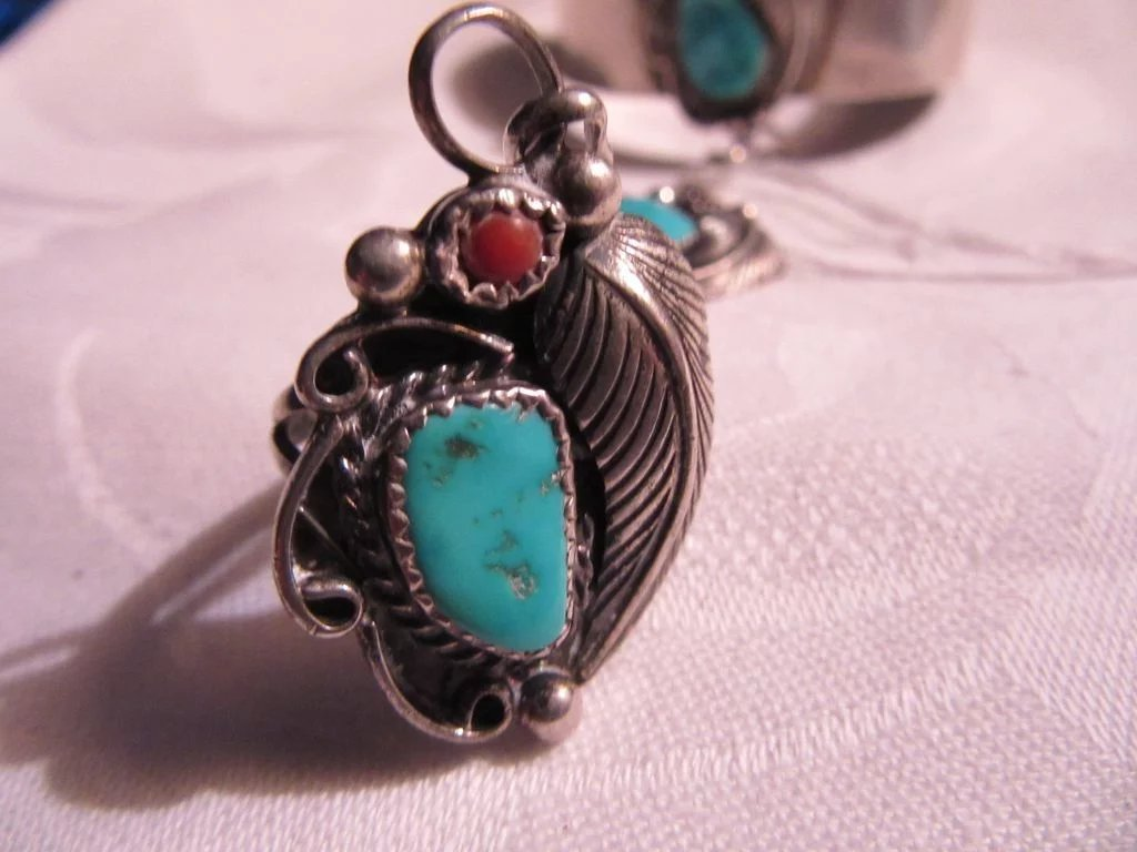 Native American Signed Sterling Silver Turquoise Coral