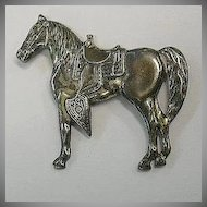 Sterling Silver Horse Pin Fine Vintage Costume Jewelry