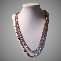 Champagne Faux Pearls Long Rope Necklace
