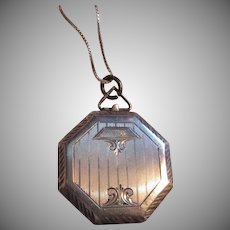 Sterling Silver Octagonal Locket Art Deco Designs