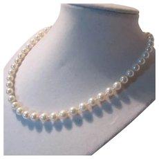 Fine Genuine Cultured Pearls Vintage Necklace 14K Clasp