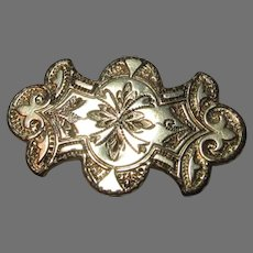 Victorian Gold Filled Engraved Pin Brooch