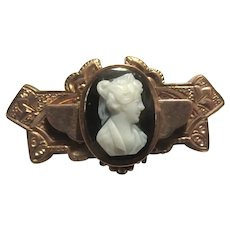 Victorian Gold Filled Watch Pin With Cameo