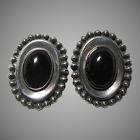 Sterling Black Onyx Large Mexican Silver Clip Earrings