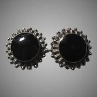 Mexican Sterling Silver Black Onyx Calderon Atachi Clip Earrings