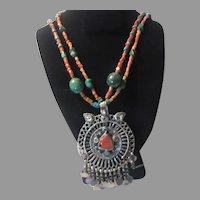 Turquoise Coral Beads Long Necklace Unique Pendant