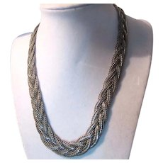 Braided Silver Tone Metal Snake Chain Necklace Korea