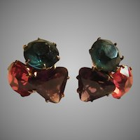 Old Screw Back Earrings Purple Red Teal Brilliant Stones