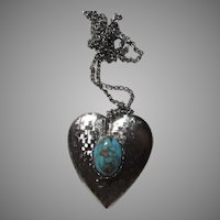 Silver Tone Metal Heart Locket Chain Turquoise Blue Stone