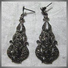 Vintage Sterling Silver & Marcasite Pierced Earrings Fine Costume Jewelry
