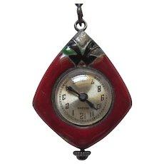 Art Deco Enamel Pendant Bulova Watch Necklace