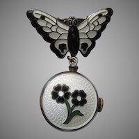 Fine Enamel Watch Pendant Butterfly Pin Croton